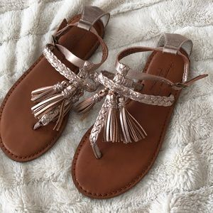 Rose Gold Tassel Leather Sandals
